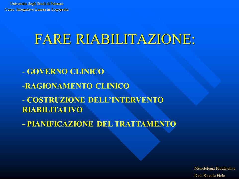 FARE RIABILITAZIONE: GOVERNO CLINICO RAGIONAMENTO CLINICO