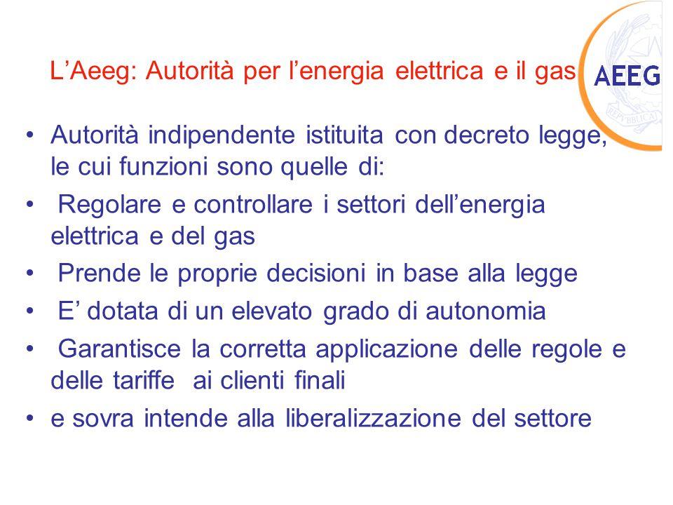 L'Aeeg: Autorità per l'energia elettrica e il gas