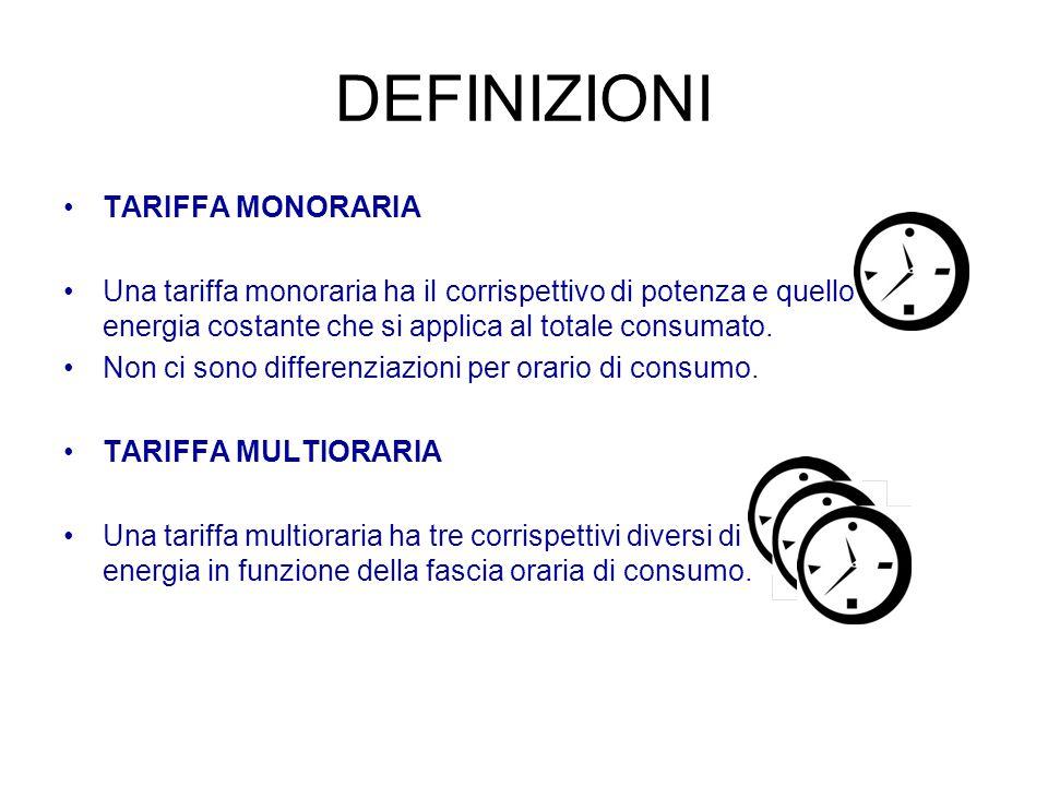 DEFINIZIONI TARIFFA MONORARIA