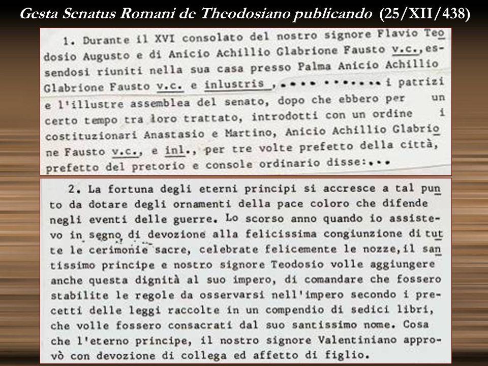 Gesta Senatus Romani de Theodosiano publicando (25/XII/438)