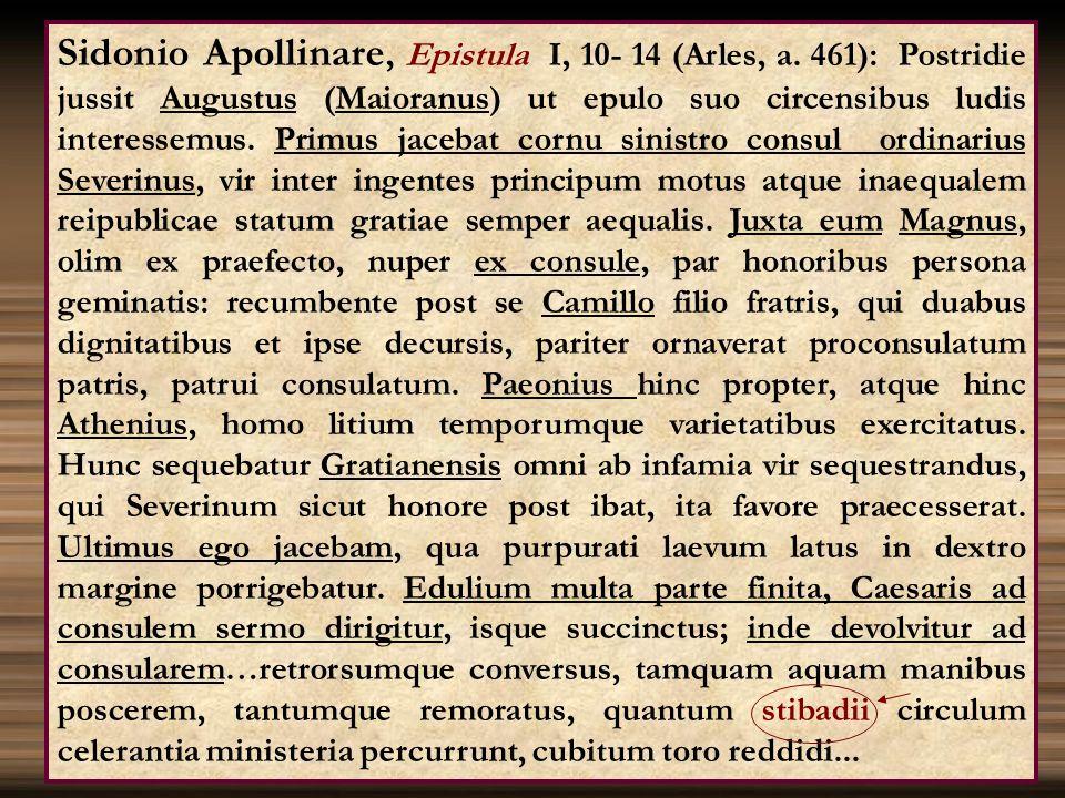 Sidonio Apollinare, Epistula I, 10- 14 (Arles, a