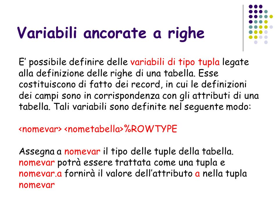 Variabili ancorate a righe