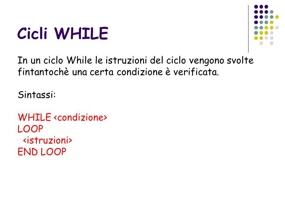 Cicli WHILE In un ciclo While le istruzioni del ciclo vengono svolte fintantochè una certa condizione è verificata.