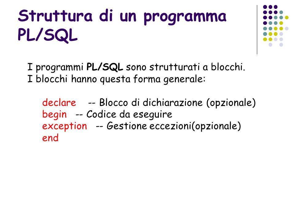 Struttura di un programma PL/SQL