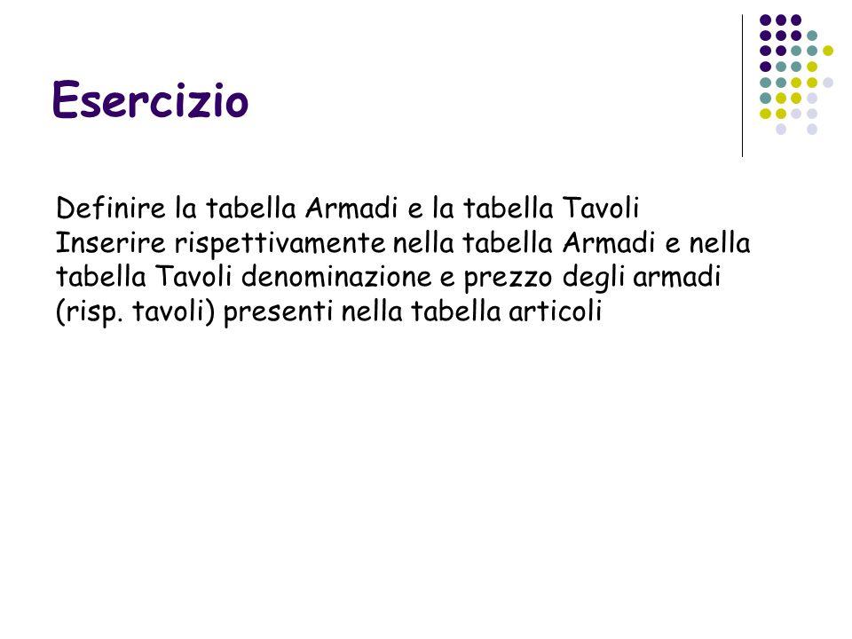 Esercizio Definire la tabella Armadi e la tabella Tavoli