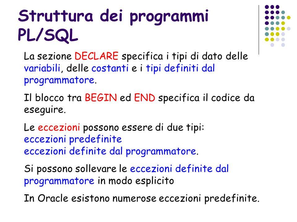 Struttura dei programmi PL/SQL
