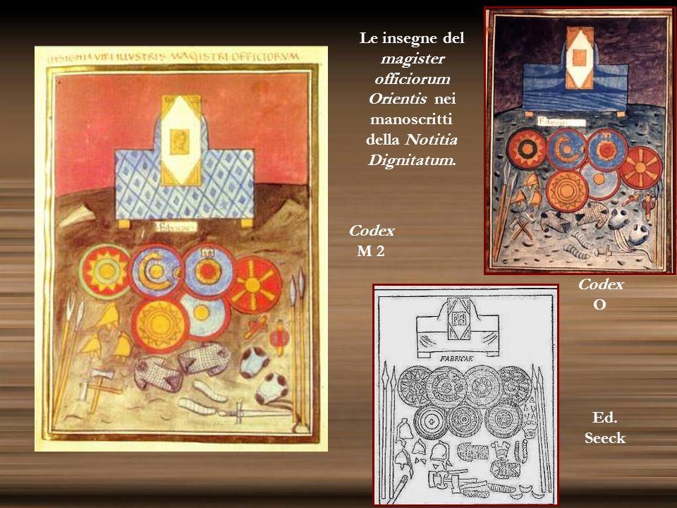Le insegne del magister officiorum Orientis nei manoscritti della Notitia Dignitatum.