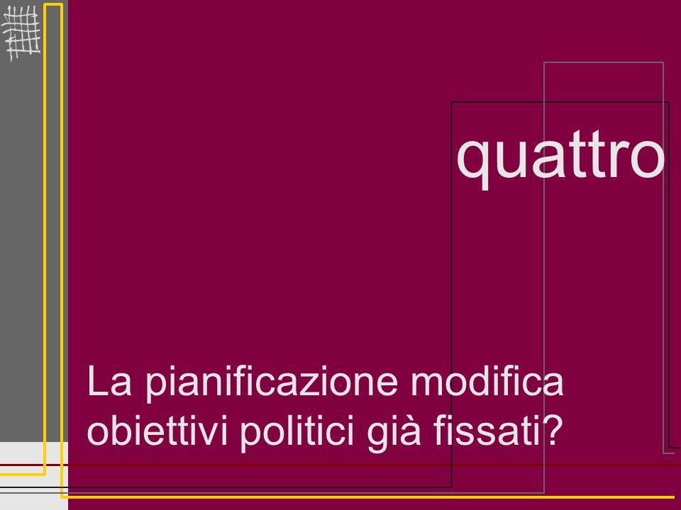 quattro La pianificazione modifica obiettivi politici già fissati