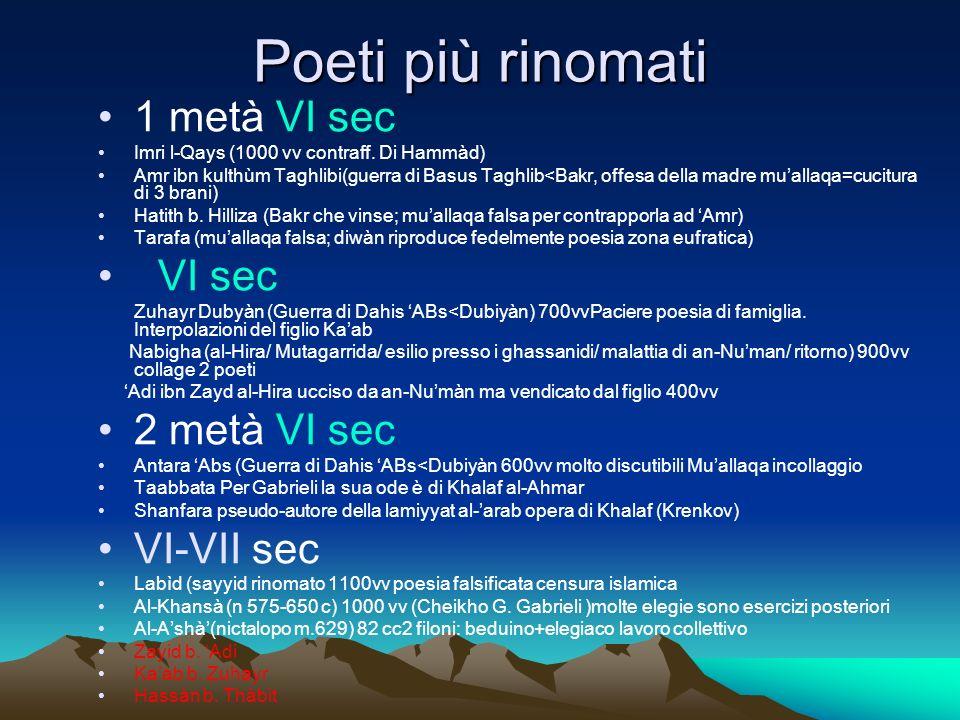 Poeti più rinomati 1 metà VI sec VI sec 2 metà VI sec VI-VII sec