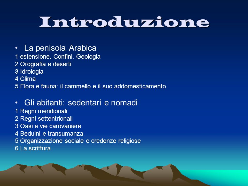Introduzione La penisola Arabica Gli abitanti: sedentari e nomadi