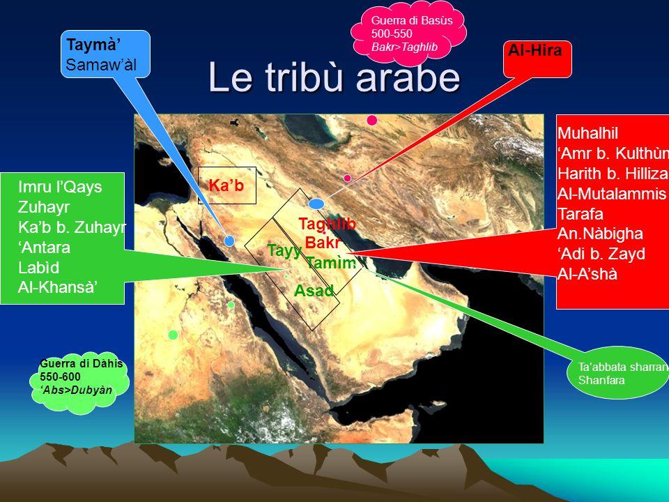 Le tribù arabe Taymà' Al-Hira Samaw'àl Muhalhil 'Amr b. Kulthùm