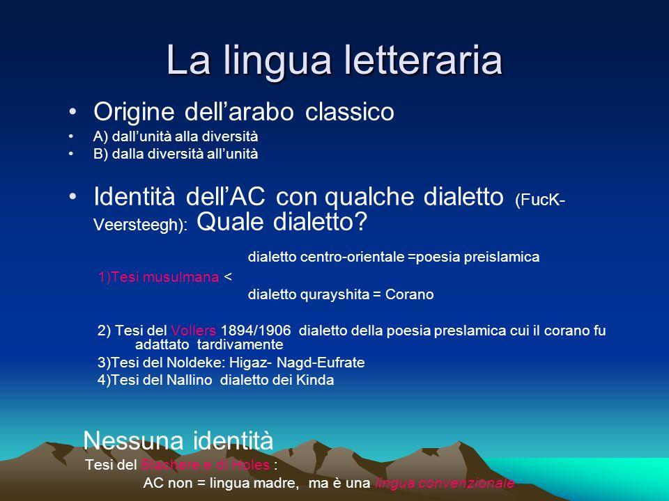 La lingua letteraria Origine dell'arabo classico
