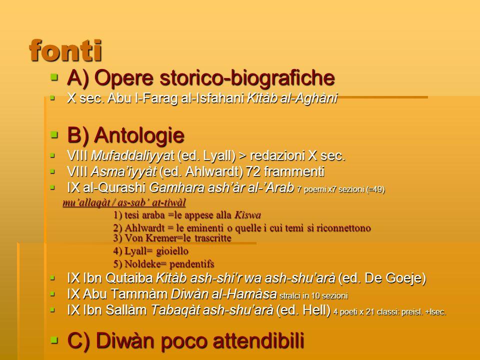 fonti A) Opere storico-biografiche B) Antologie