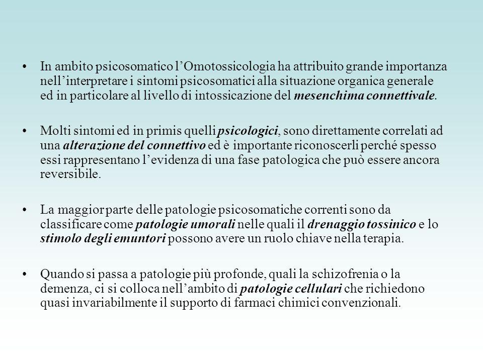 In ambito psicosomatico l'Omotossicologia ha attribuito grande importanza nell'interpretare i sintomi psicosomatici alla situazione organica generale ed in particolare al livello di intossicazione del mesenchima connettivale.