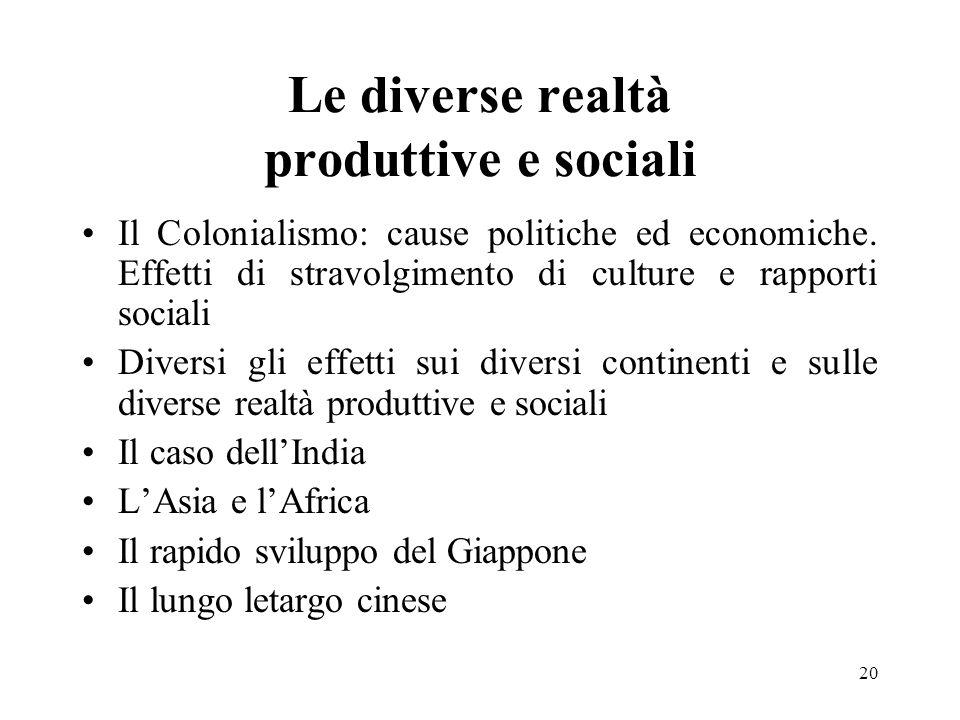 Le diverse realtà produttive e sociali