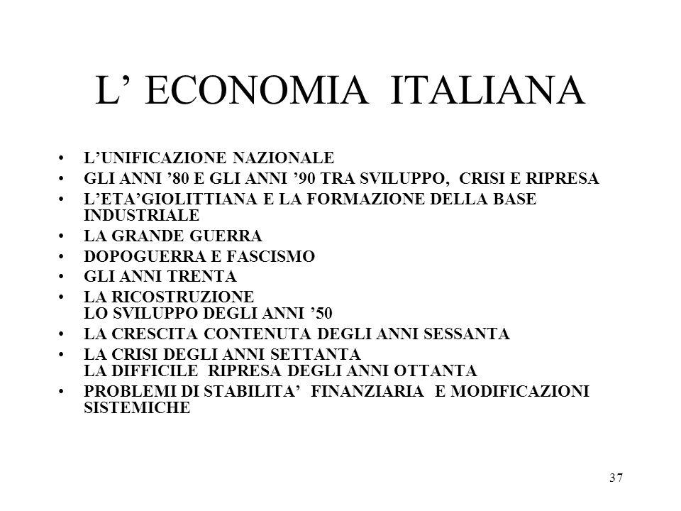 L' ECONOMIA ITALIANA L'UNIFICAZIONE NAZIONALE