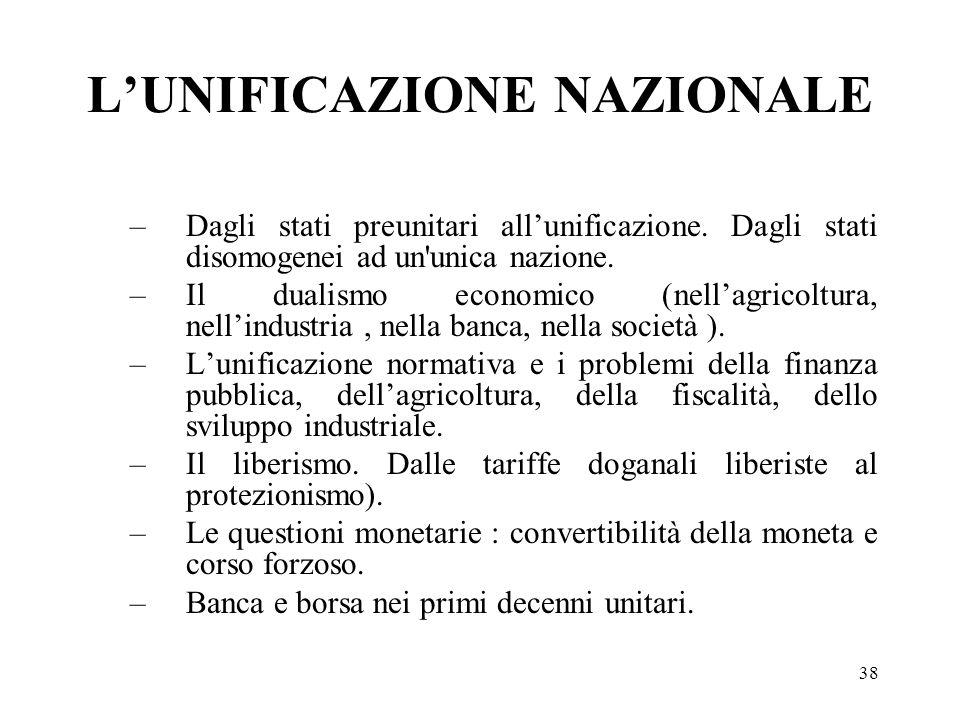 L'UNIFICAZIONE NAZIONALE