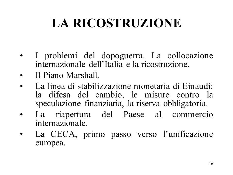 LA RICOSTRUZIONE I problemi del dopoguerra. La collocazione internazionale dell'Italia e la ricostruzione.
