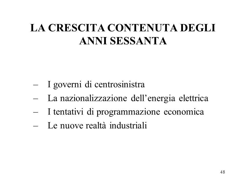 LA CRESCITA CONTENUTA DEGLI ANNI SESSANTA