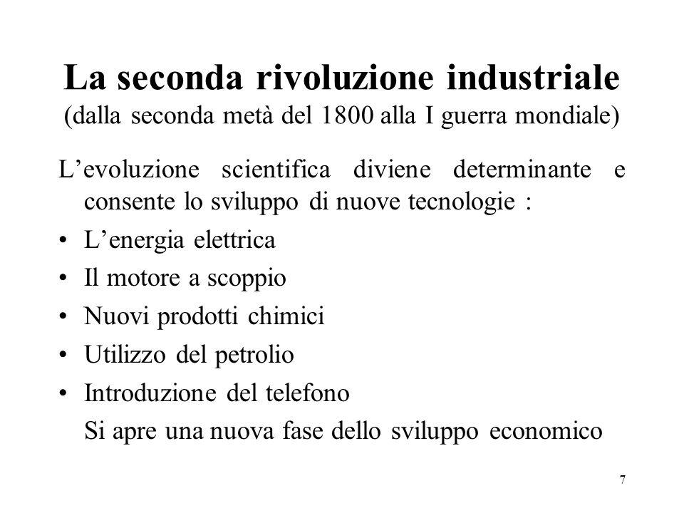 La seconda rivoluzione industriale (dalla seconda metà del 1800 alla I guerra mondiale)