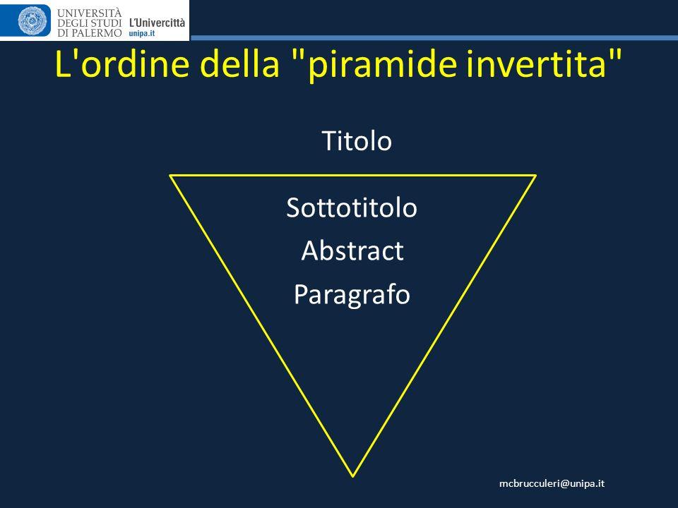L ordine della piramide invertita