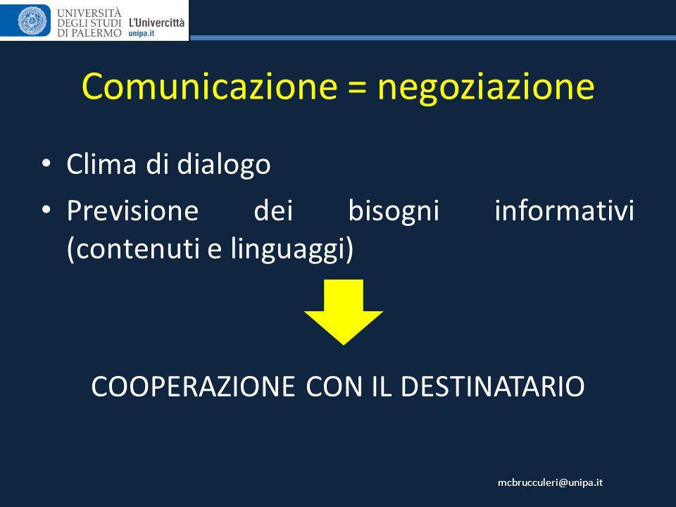 Comunicazione = negoziazione