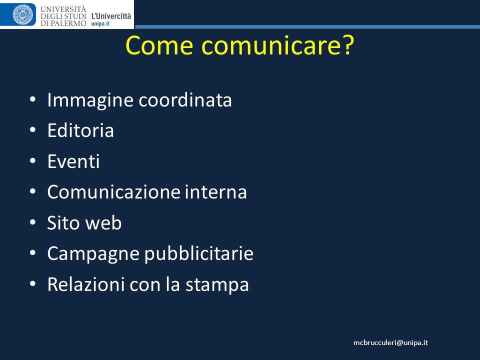 Come comunicare Immagine coordinata Editoria Eventi