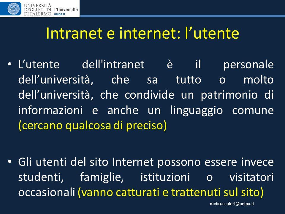 Intranet e internet: l'utente