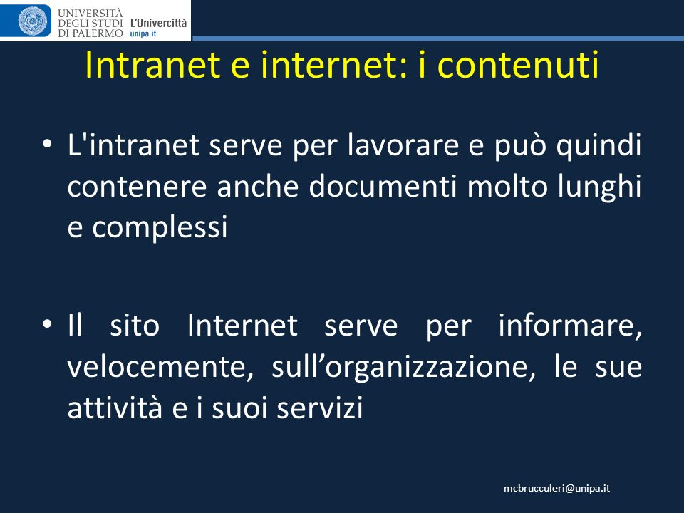 Intranet e internet: i contenuti