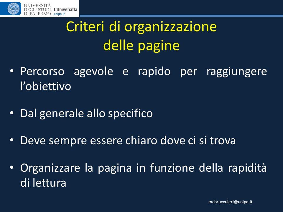 Criteri di organizzazione delle pagine