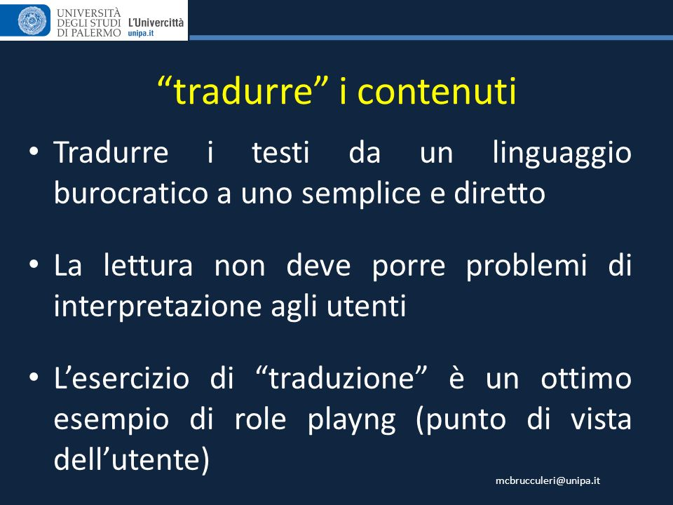 tradurre i contenuti