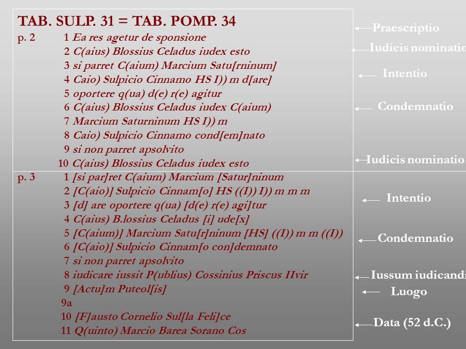 TAB. SULP. 31 = TAB. POMP. 34 Praescriptio Iudicis nominatio Intentio