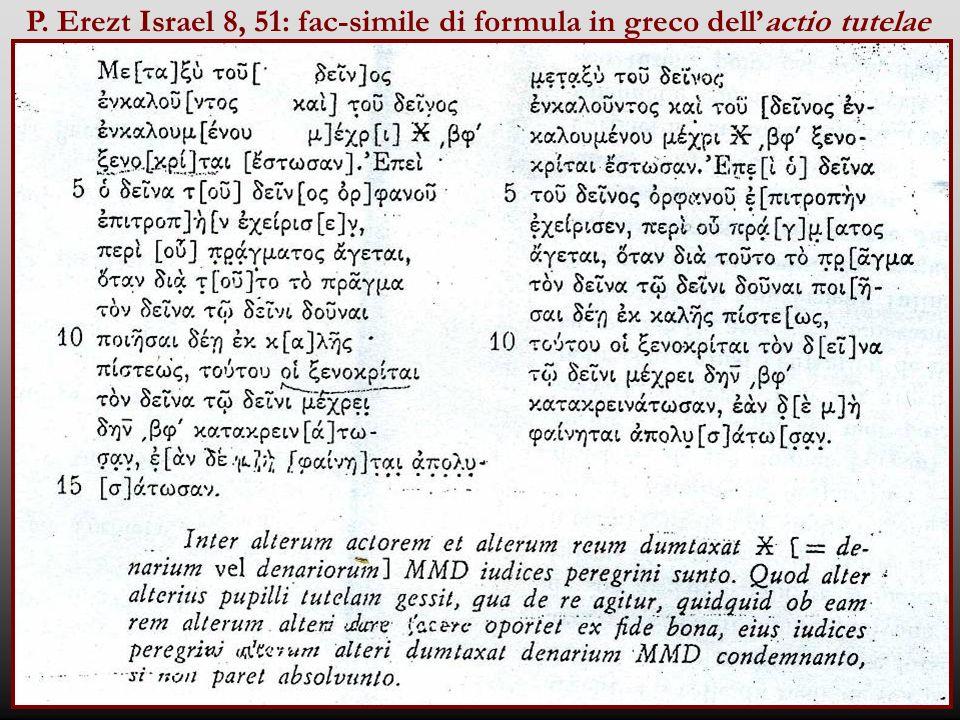 P. Erezt Israel 8, 51: fac-simile di formula in greco dell'actio tutelae
