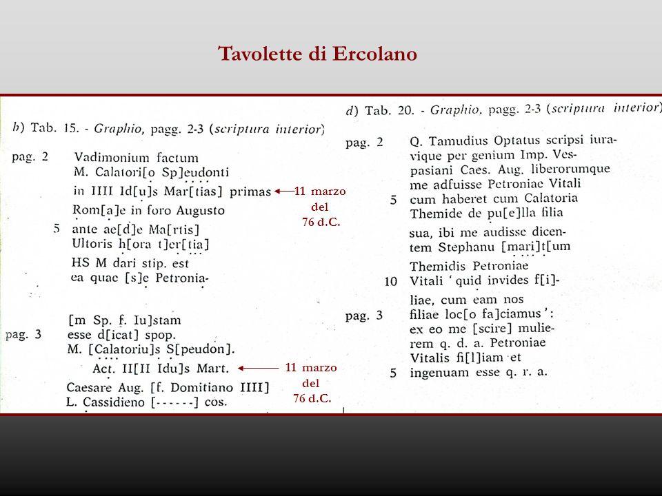 Tavolette di Ercolano 11 marzo del 76 d.C. 11 marzo del 76 d.C.