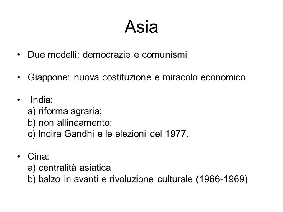 Asia Due modelli: democrazie e comunismi