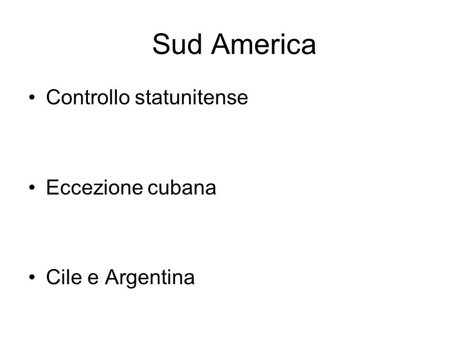 Sud America Controllo statunitense Eccezione cubana Cile e Argentina