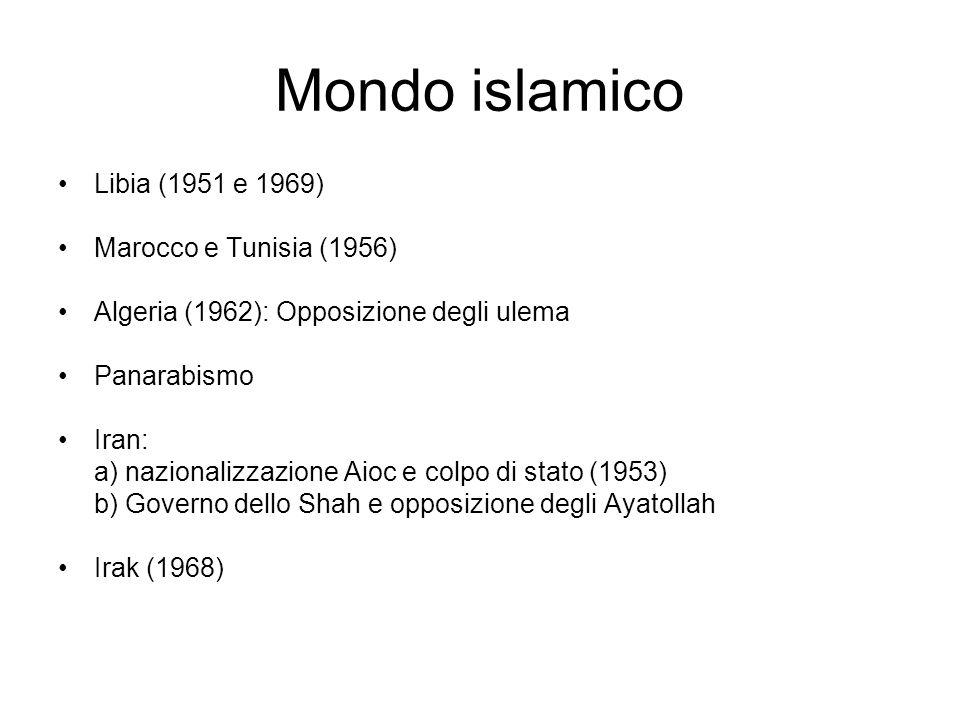 Mondo islamico Libia (1951 e 1969) Marocco e Tunisia (1956)