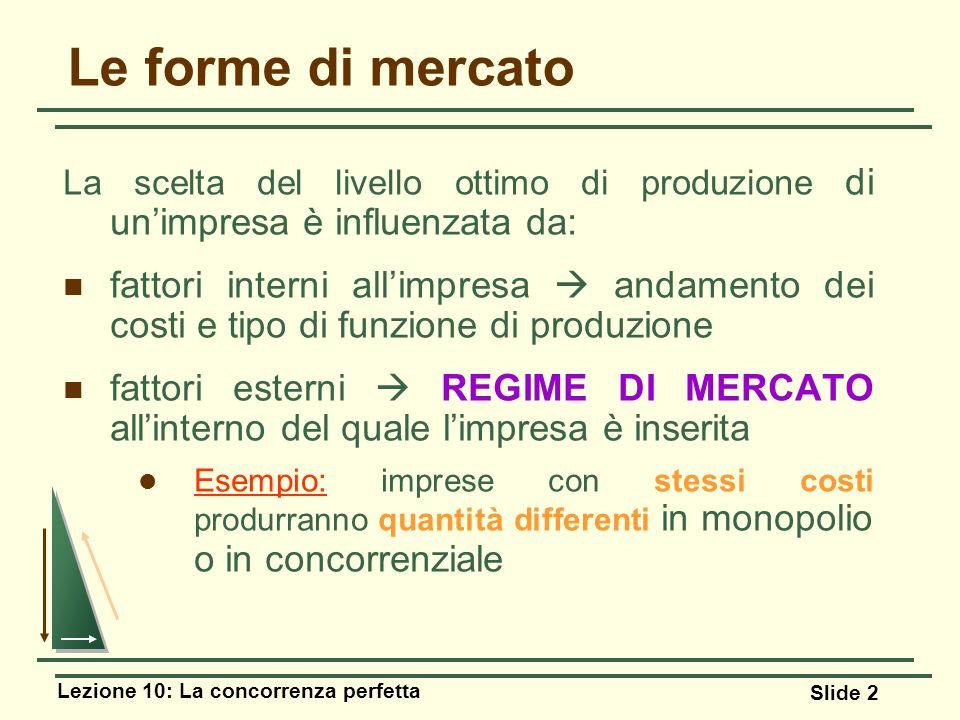 Le forme di mercato La scelta del livello ottimo di produzione di un'impresa è influenzata da: