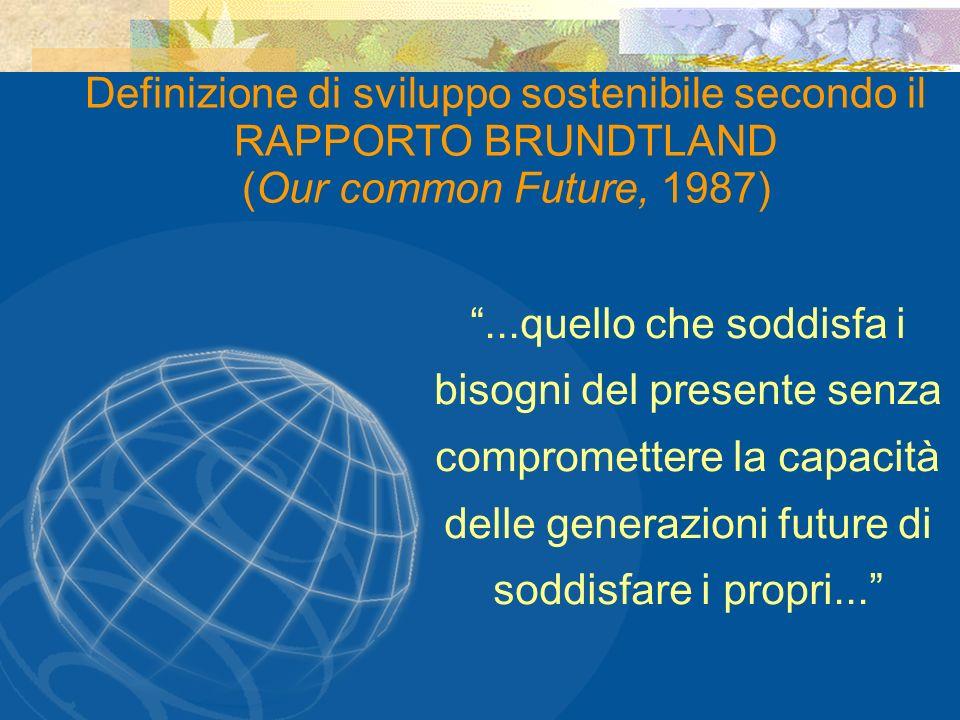 Definizione di sviluppo sostenibile secondo il RAPPORTO BRUNDTLAND