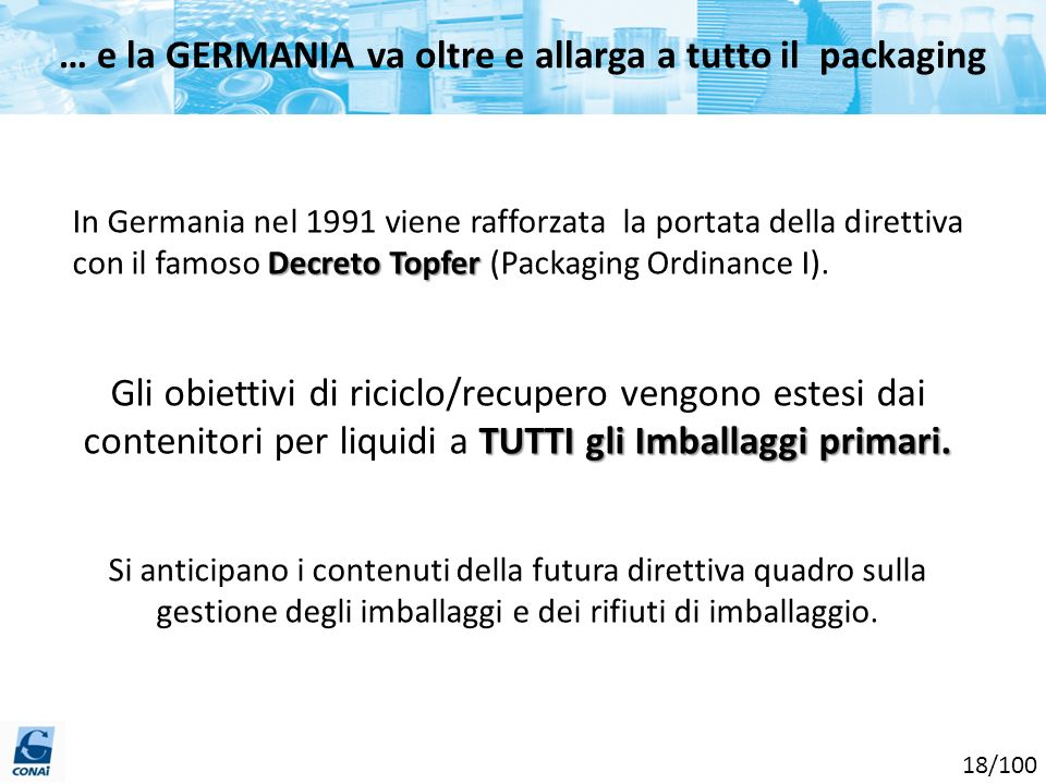 … e la GERMANIA va oltre e allarga a tutto il packaging