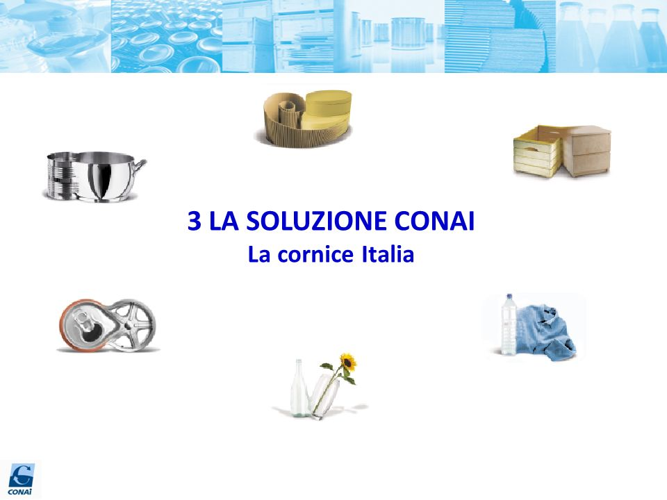3 LA SOLUZIONE CONAI La cornice Italia 57