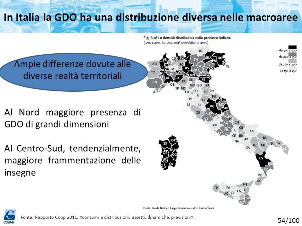 In Italia la GDO ha una distribuzione diversa nelle macroaree