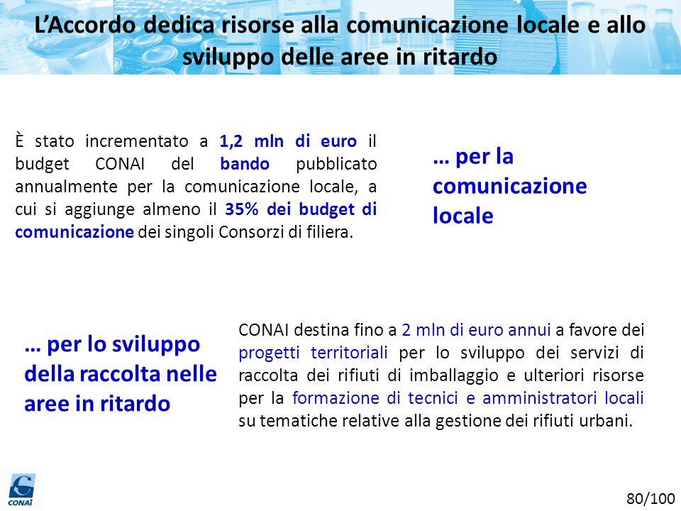 L'Accordo dedica risorse alla comunicazione locale e allo sviluppo delle aree in ritardo
