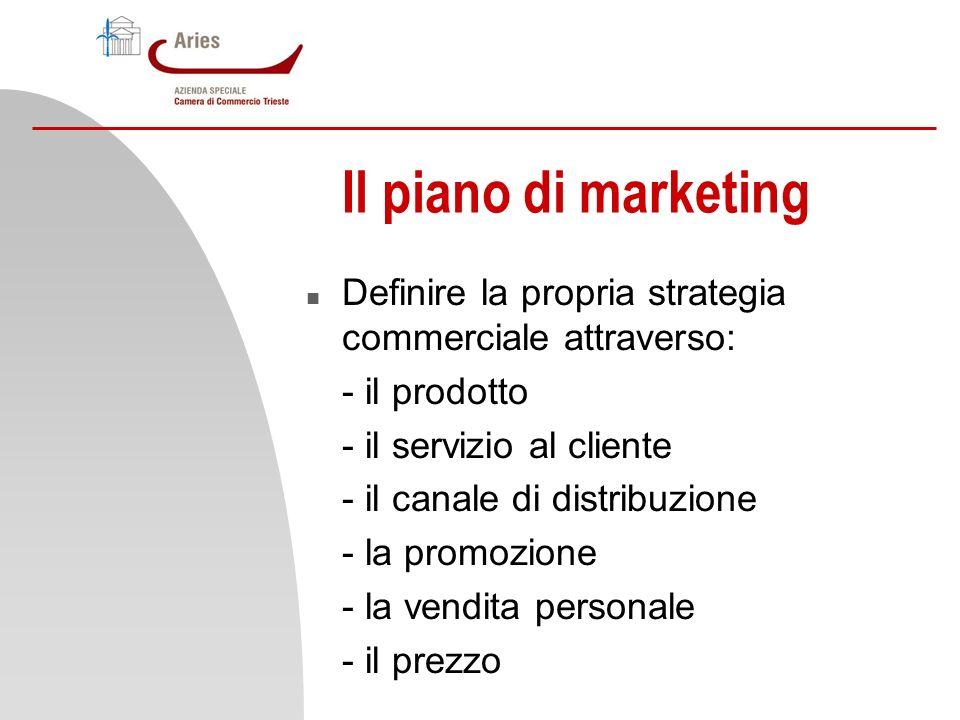 Il piano di marketing Definire la propria strategia commerciale attraverso: - il prodotto. - il servizio al cliente.