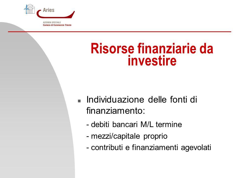 Risorse finanziarie da investire