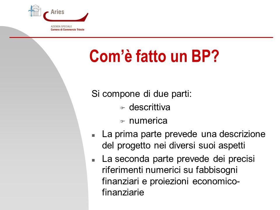 Com'è fatto un BP Si compone di due parti: descrittiva numerica