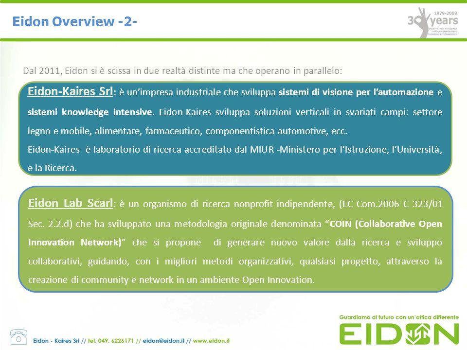 Eidon Overview -2- Dal 2011, Eidon si è scissa in due realtà distinte ma che operano in parallelo: