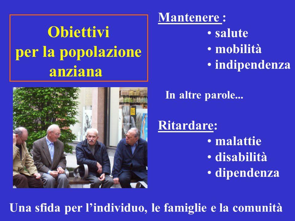 Obiettivi per la popolazione anziana
