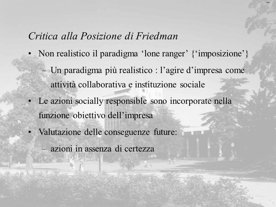 Critica alla Posizione di Friedman