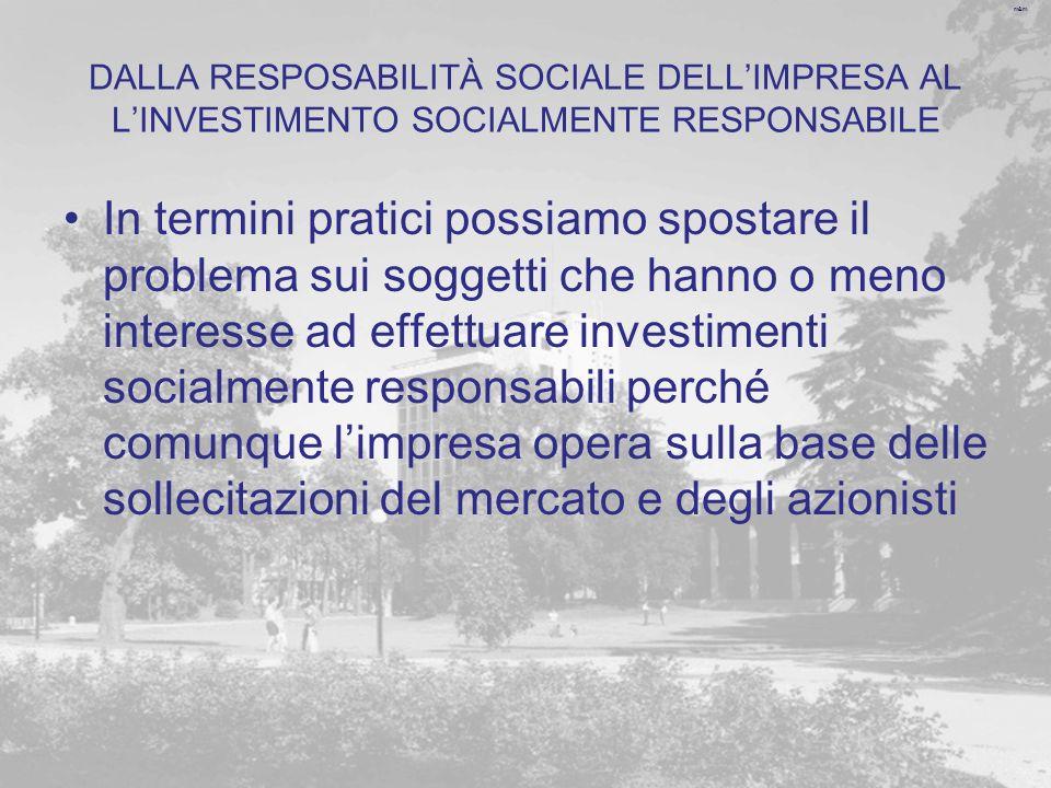 DALLA RESPOSABILITÀ SOCIALE DELL'IMPRESA AL L'INVESTIMENTO SOCIALMENTE RESPONSABILE